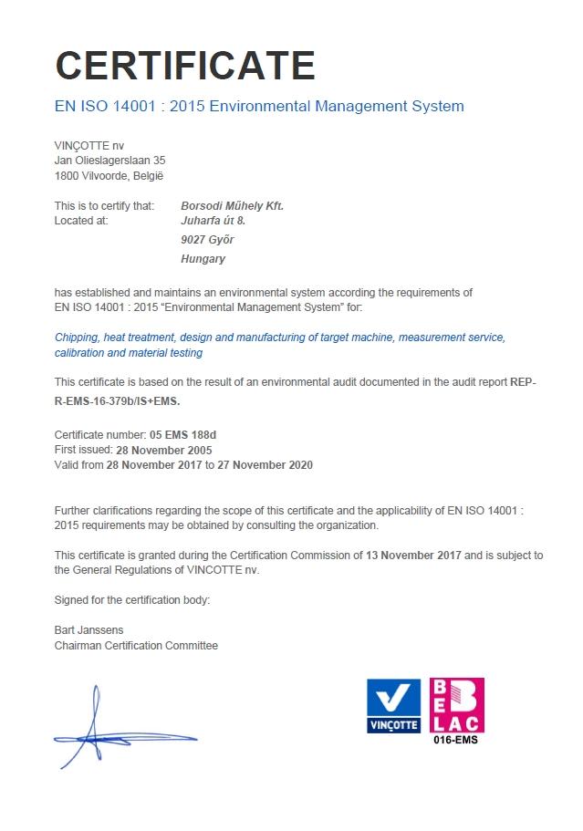 ISO 14001 | Borsodi Műhely